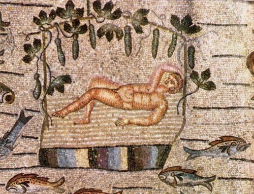 Basilica Aquileia: Mosaik Jonas in der Laube