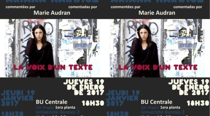 VDT – Lectures d'Ariana Harwicz, commentées par Marie Audran