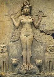 Relief 'Burney', British Museum: Ishtar frontale, nue, et ailée