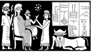 Urkish/Tell Mozan: sceau-cylindre de la nourrice Zamena, époque akkadienne (d'après Parayre 1998: fig.16c)