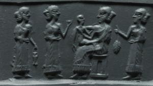 Sceau d'époque akkadienne montrant une mère et son enfant