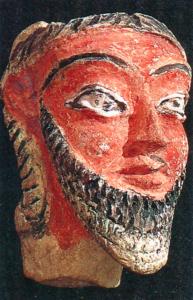 Terre cuite kassite de tête masculine retrouvée à Dur Kurigalzu. IIe moitié du IIe mill. BC