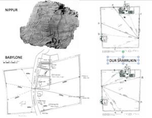 PLANS DE DUR SHARRUKIN (droite), Nippur (haut gauche) et Babylone (bas, gauche). © Laura Battini