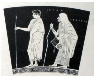 skyphos attique à figures rouges: Héraklès et sa nourrice âgée (dos voûté, canne pour marcher). Birchler Émery 2018: fig.4