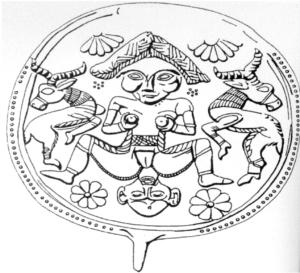 épingle en bronze du Luristan avec image d'accouchement (Battini 2006, fig.4)