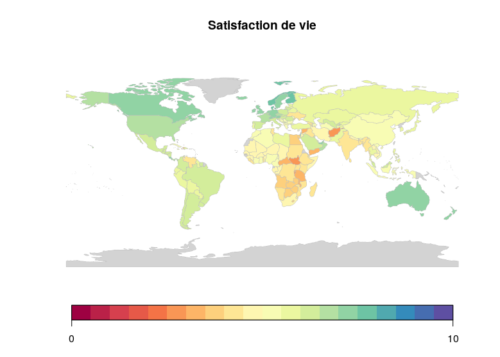 Carte du mon de la satisfaction de vie