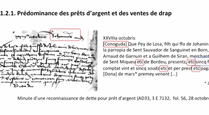 Seminaire M. Bochaca, « Les marchands bordelais et le crédit XVe, XVIe siècles »
