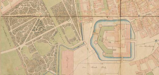 Auszug aus dem Plan von der Fürstlichen Residenz Darmstadt mit Benennung der Straßen, offenen Plätzen, Haupt-Gebäuden und Hauptbrunnen, J. M. Weiss, 1799, StadtA DA Best. 51 Nr. 27