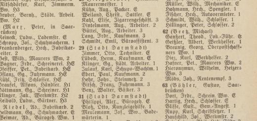 Auszug aus dem Adressbuch der Haupt- und Residenzstadt Darmstadt, 1927, S. 307