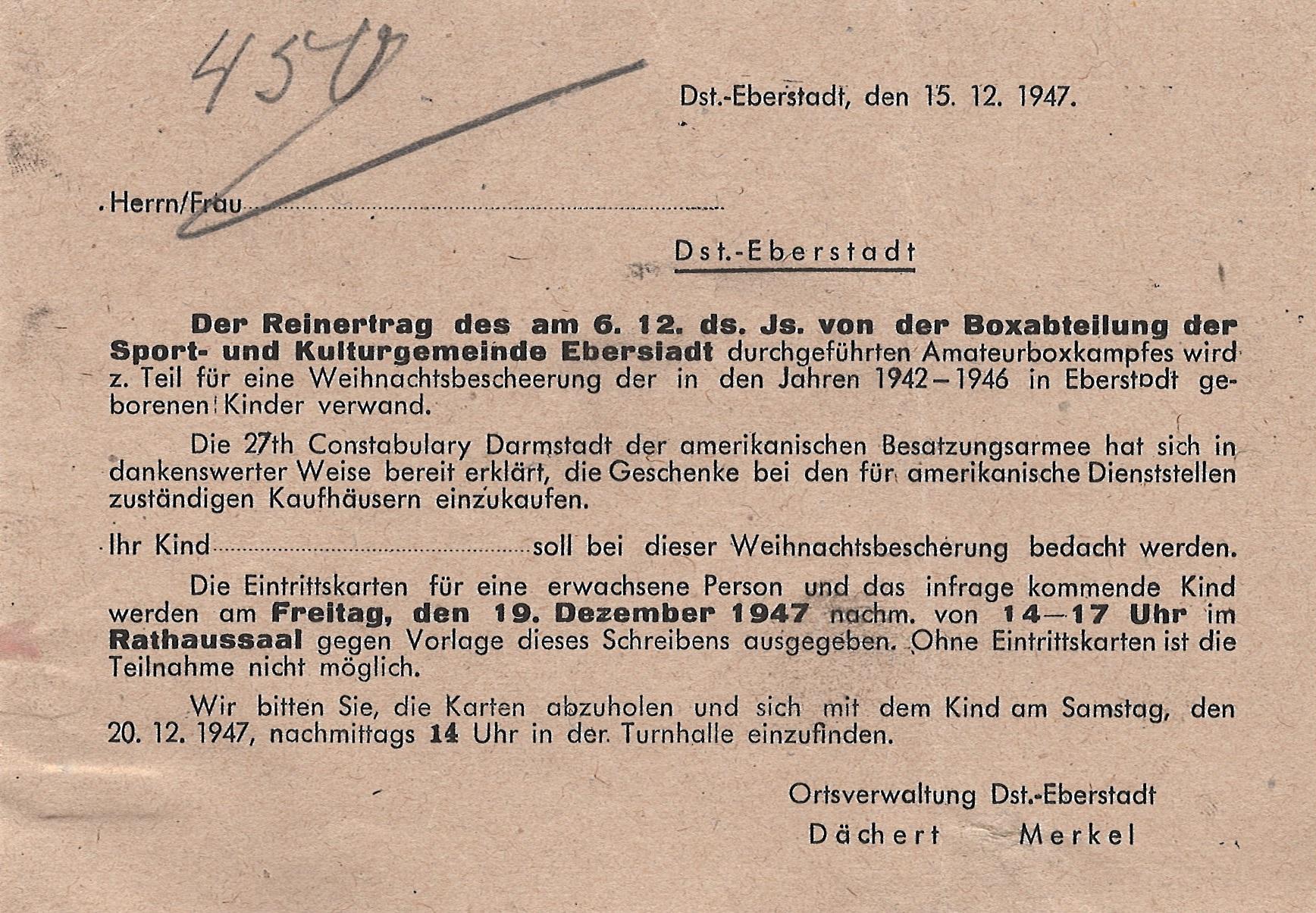 Abholschein für Eintrittskarten für ein Kind und seine Begleitung zur Weihnachtsbescherung für Kleinkinder in der Turnhalle Eberstadt, 1947, StadtA DA Best. 201