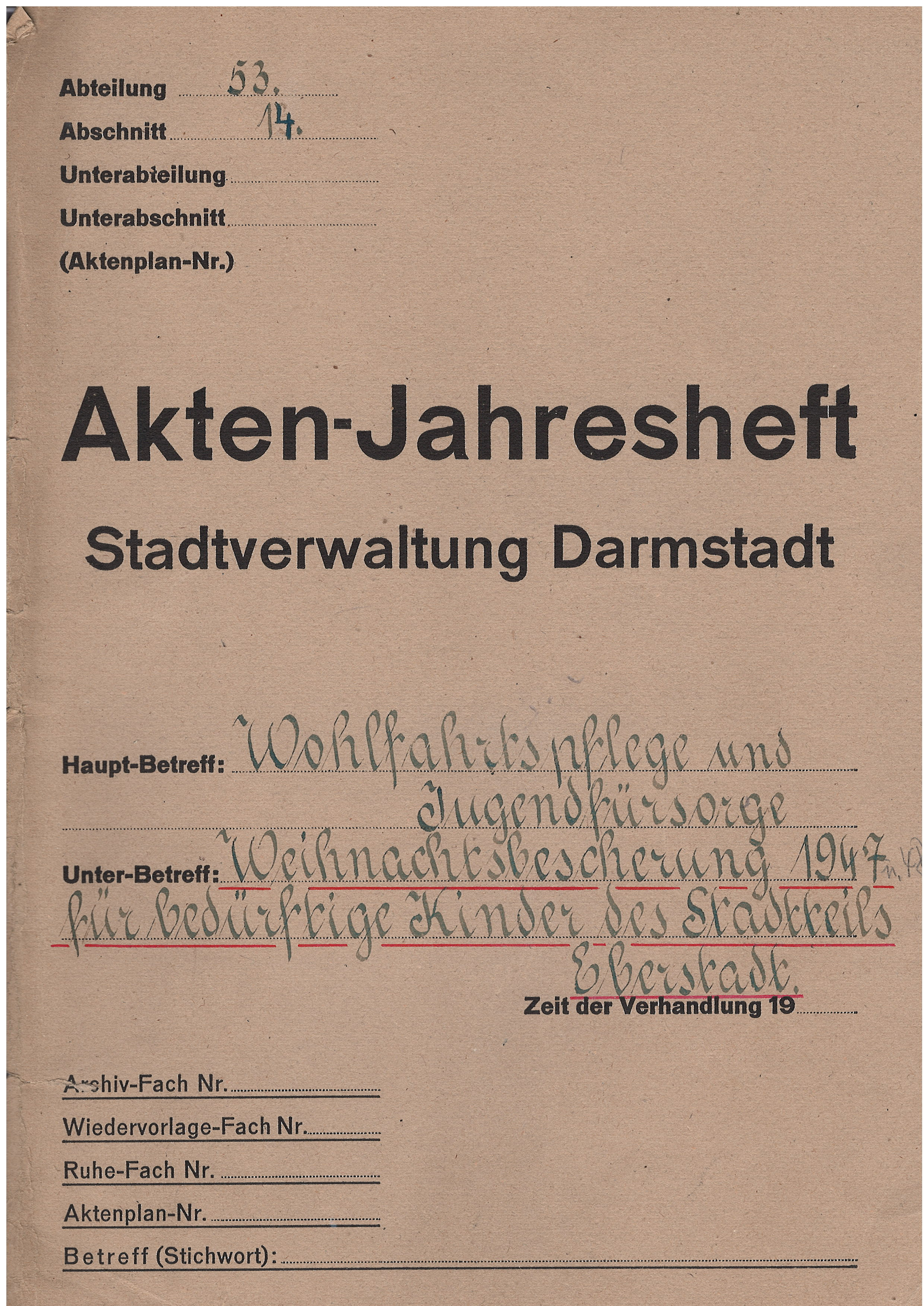 Deckel der Akte zur Weihnachtsbescherung für Eberstädter Kinder, 1947, StadtA DA Best. 201