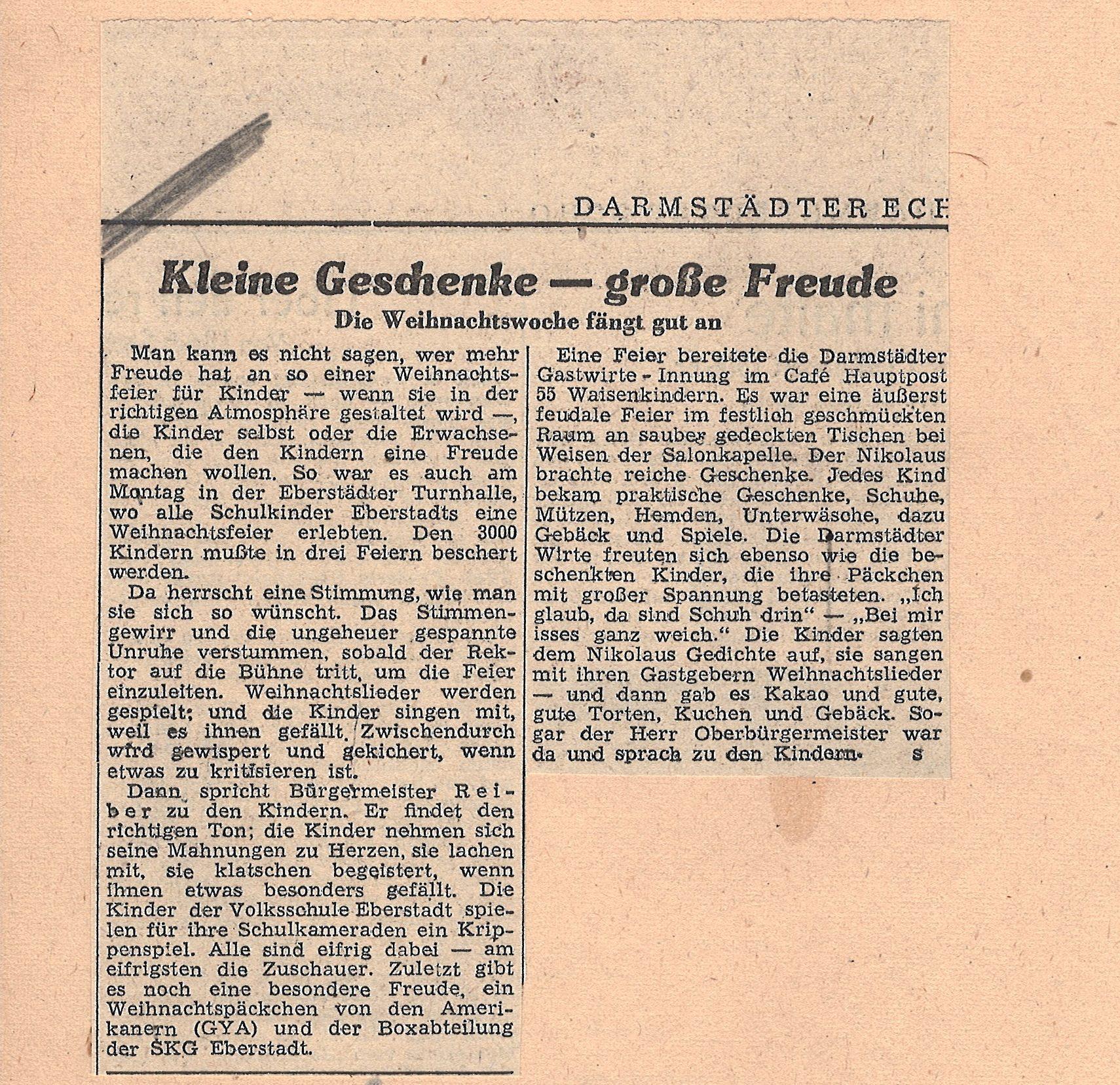 Ausschnitt aus dem Darmstädter Echo vom 21. Dezember 1948, StadtA DA Best. 201