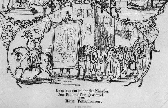 1837: Einzug eines restituierten Rubens-Gemäldes auf einem Kölner Gedenkblatt