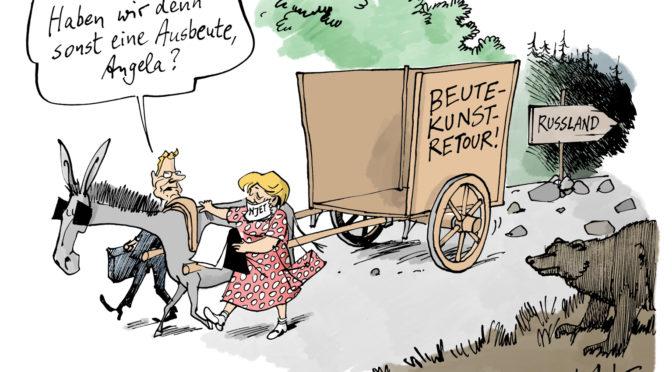 2013: Karikatur von Merkels Beutekunst-Diplomatie