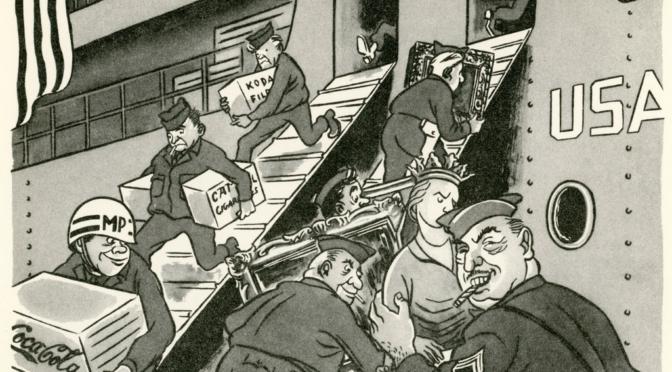 1953: Kunstschätze gegen Massenware. Eine DDR-Karikatur warnt vor Amerikanisierung