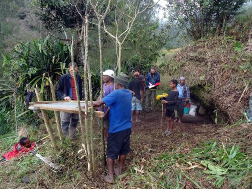 Planning the excavation at Manim rockshelter.