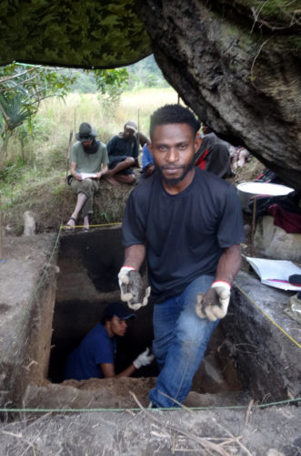 Jeivin Andu during the excavation.