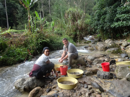 Hubert and Chloe sieving at Manim creek.