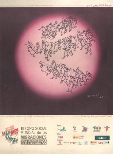 Affiche du Forum mondial des migrations, juin 2006, Madrid