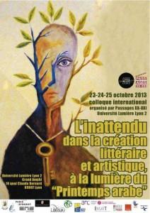 """Affiche du colloque """"L'inattendu dans la création littéraire et artistique, à la lumière du printemps arabe"""", octobre 2013"""