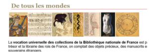 BNF, bandeau sur la diversité des collections