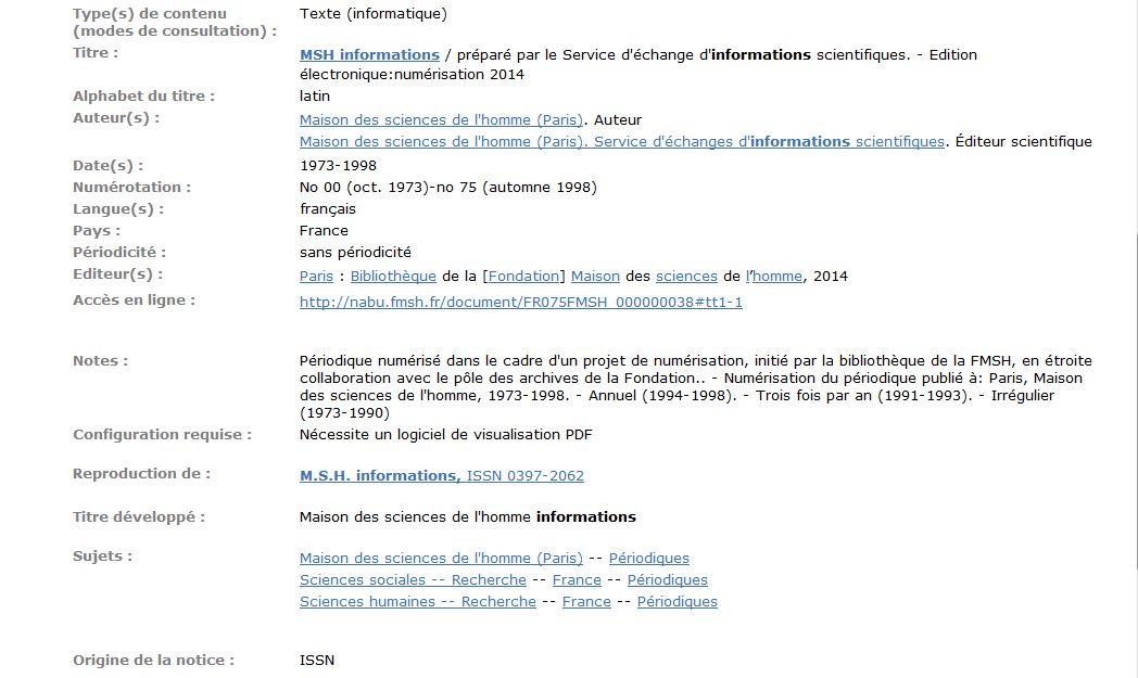 Notice détaillée de e-MSH-Information dans le SUDOC