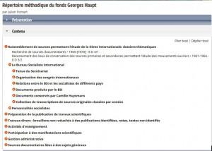 Plan de classement du fonds Georges Haupt
