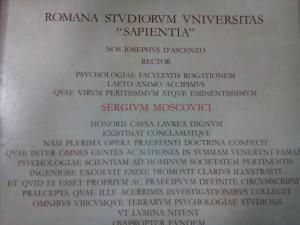 """Diplôme Honoris Causa remis par la faculté de psychologie de l'université de Rome """"La Sapienza"""""""
