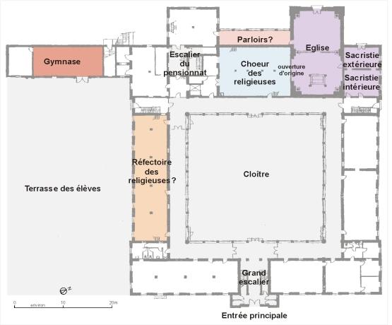 Plan du rez-de-chaussée, restitution partielle de la distribution au 19e siècle
