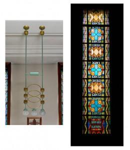 Lustre, par G.-M. Boretti, et vitraux par J. Lamy-Paillet, d'ap. des cartons de J. Coquet