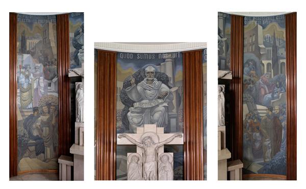 Choeur, peintures de Jean Coquet, panneaux central et latéraux