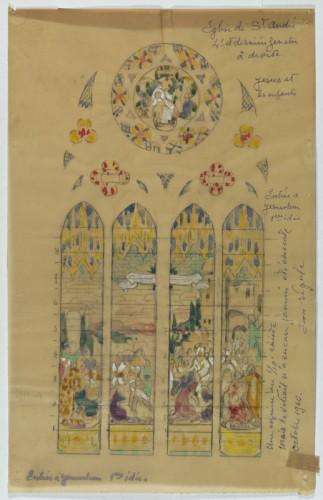 E. Bégule, esquisse pour L'Entrée du Christ à Jérusalem.