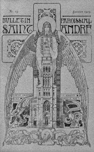 Rogatien Le Nail, l'église Saint-André représentée avec le clocher prévu initialement et protégée par un ange, Bulletin paroissial n°13, janvier 1909 (Archives diocésaines, I 1213).