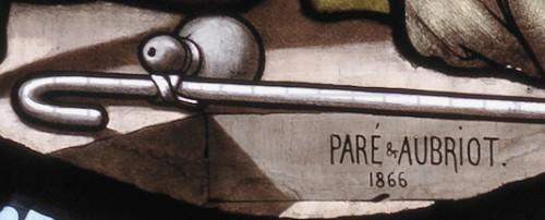Signature de Paré et Aubriot sur la verrière du Fils prodigue (1866).