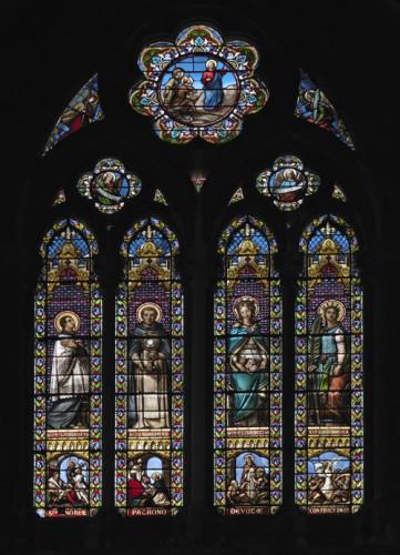 Verrière nord : les saints patrons des principales confréries de la paroisse (Mauvernay).
