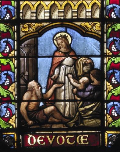 A. Mauvernay, Sainte Elisabeth faisant la charité, détail de la verrière nord.