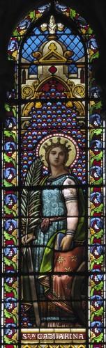 A. Mauvernay, Sainte Catherine, détail de la verrière nord.