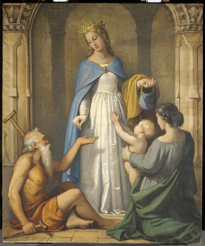 R. Balze, <i>Sainte Elisabeth faisant la charité</i> (huile sur toile, Lyon, musée des beaux-arts, INV. 2005-34).