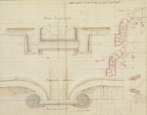 Coupe longitudinale d'un siphon, plan à l'encre avec lavis de 1887.