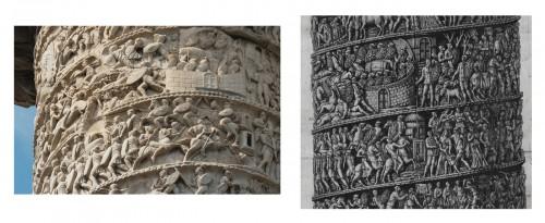 Fig. 3. Colonne de Marc Aurèle, partie supérieure, in situ (à gauche) et sur la  gravure de Piranèse (à droite).