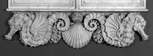 Tableau des donateurs du Musée, détail de la partie basse : hippocampes, coquille, oursin et fruits