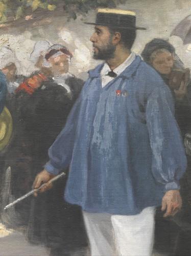 Emile Guimet dirigeant la fanfare de Fleurieu-sur-Saône. Nicolas Sicard, La Fanfare de Fleurieu-sur-Saône à la procession de la Fête-Dieu, 1885