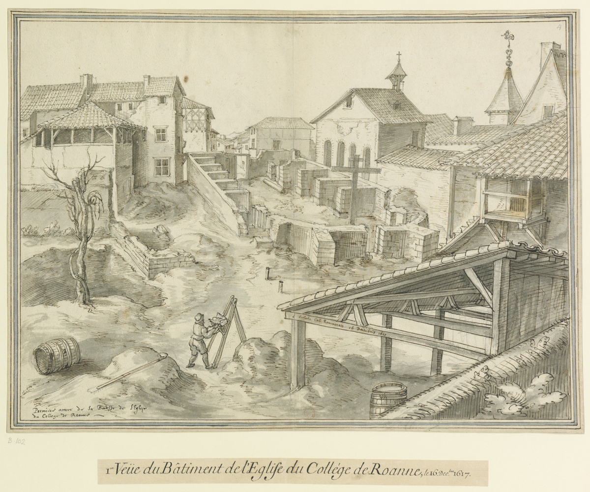 Fig. 8. Première vue de l'église du collège de Roanne, 16 décembre 1617, BnF, Ub 9, f. 102.