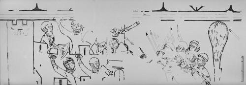 [Cliquez pour zoomer] Le relevé des peintures murales : la scène du siège