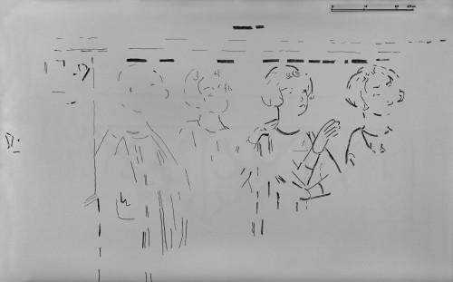 [Cliquez pour zoomer] Le relevé des peintures murales : quatre personnages