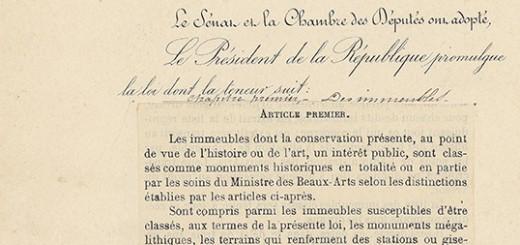 Loi sur les monuments historiques, 31 décembre 1913 (Archives nationales, A//1675)