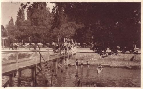 ARTICLE-LAC - CAP sans n° - Les Belles Rives - Au Grand Port - J Chaberty - La Baignade - vers 1935. Retaillée