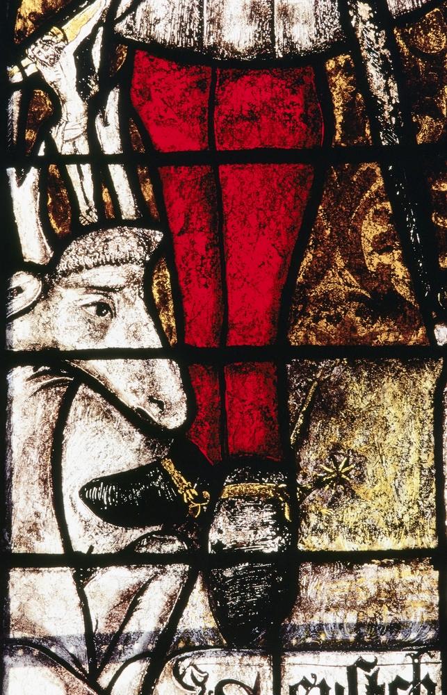 Détail de la baie 2 de l'église Saint-Martin d'Ambierle (Loire) : saint Eustache et le cerf, partie basse. Bruno Cougnassout © Région Rhône-Alpes, Inventaire général du patrimoine culturel, 1984 - ADAGP