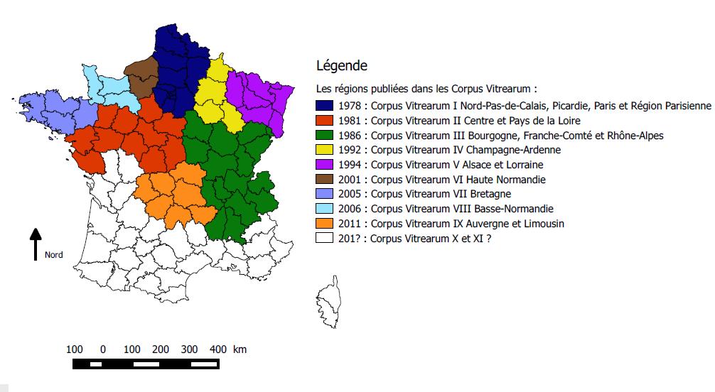 Les régions publiées dans les volumes du Corpus Vitrearum (Jérôme Bellet, 2016)