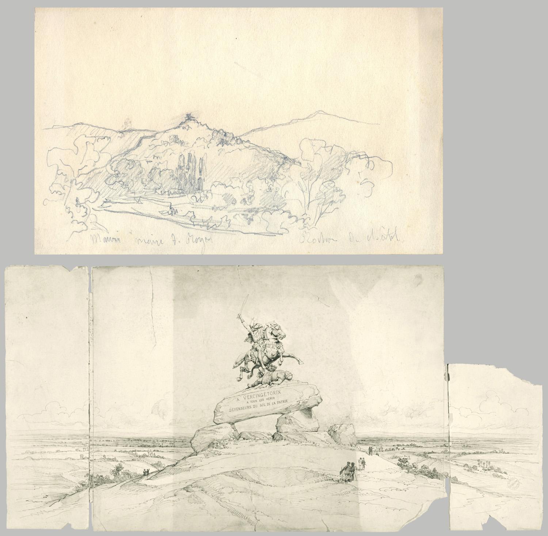 Fig.12 et 13. Projet de mise en situation de la statue équestre de Vercingétorix et Projet de monument à Vercingétorix destiné au site de Gergovie